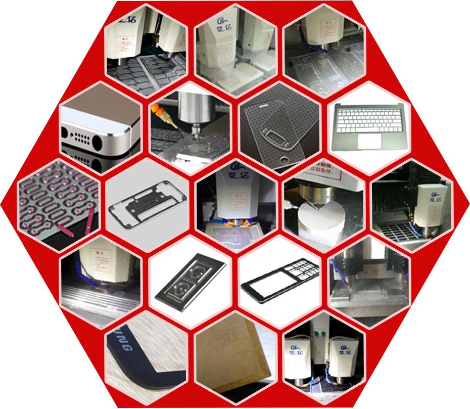 玻璃精雕机加工出19种不同的产品